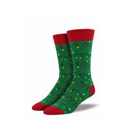 Socksmith Men's Cotton Crew Socks Christmas Lights
