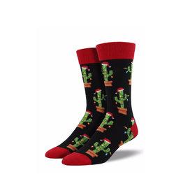 Socksmith Men's Cotton Crew Socks Christmas Cactus