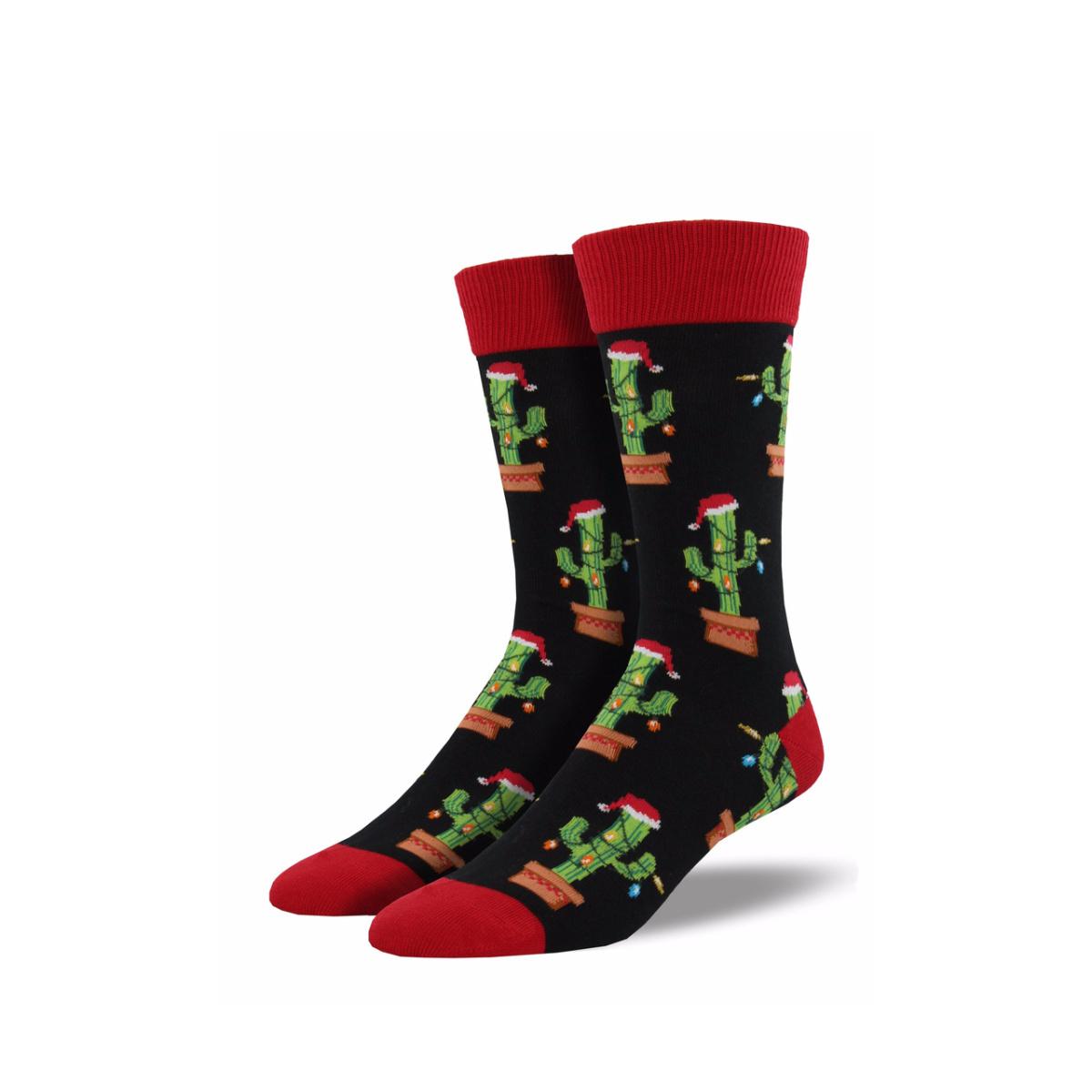Socksmith Socksmith Men's Cotton Crew Socks Christmas Cactus