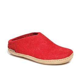 Glerups The Slipper Leather Sole Red