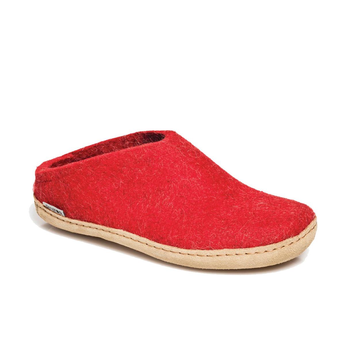 Glerups Glerups The Slipper Leather Sole Red