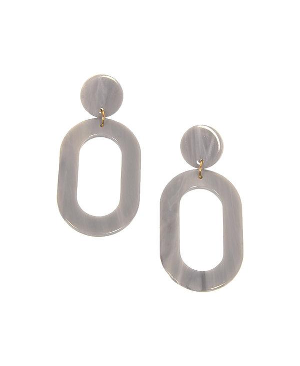 Joy Susan Resin Oval Grey Earrings