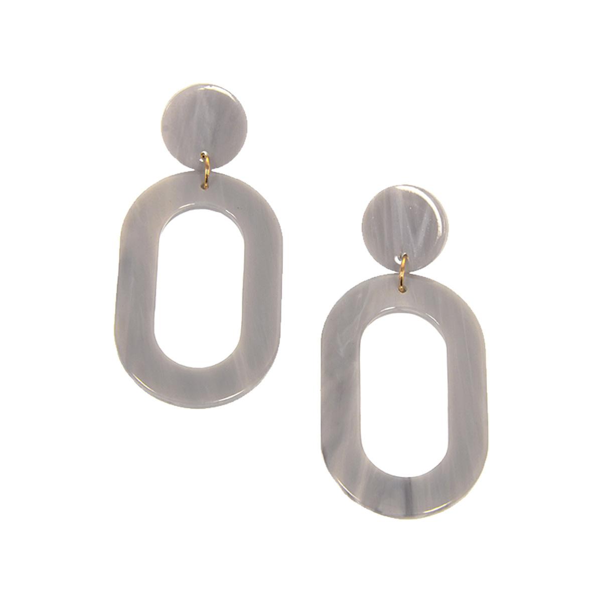 Joy Susan Joy Susan Resin Oval Grey Earrings