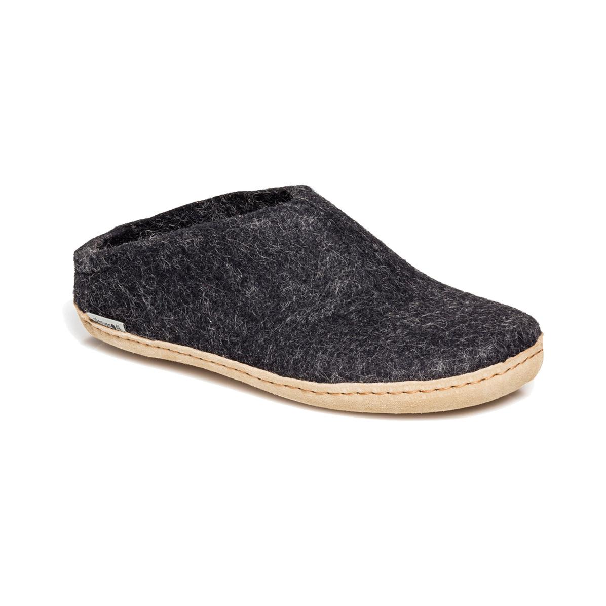 Glerups Glerups Men's Slipper Leather Sole Charcoal