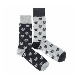 Friday Sock Co. Women's Inverted Grey Cat  W 5 - 10 (M - 4 - 8)