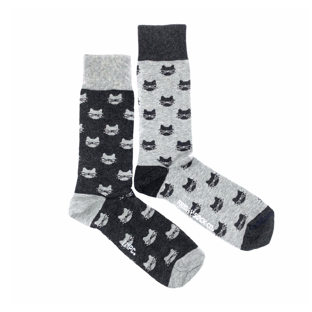 Friday Sock Co. Friday Sock Co. Women's Inverted Grey Cat  W 5 - 10 (M - 4 - 8)