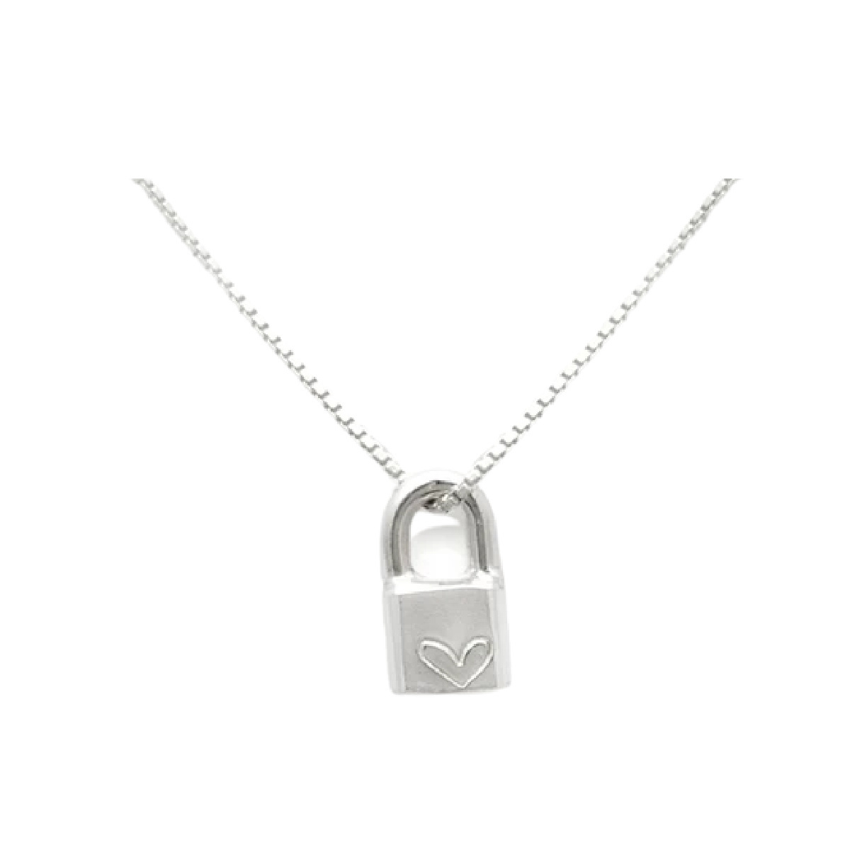 Laughing Sparrow Silver Love Heart Lock Necklace