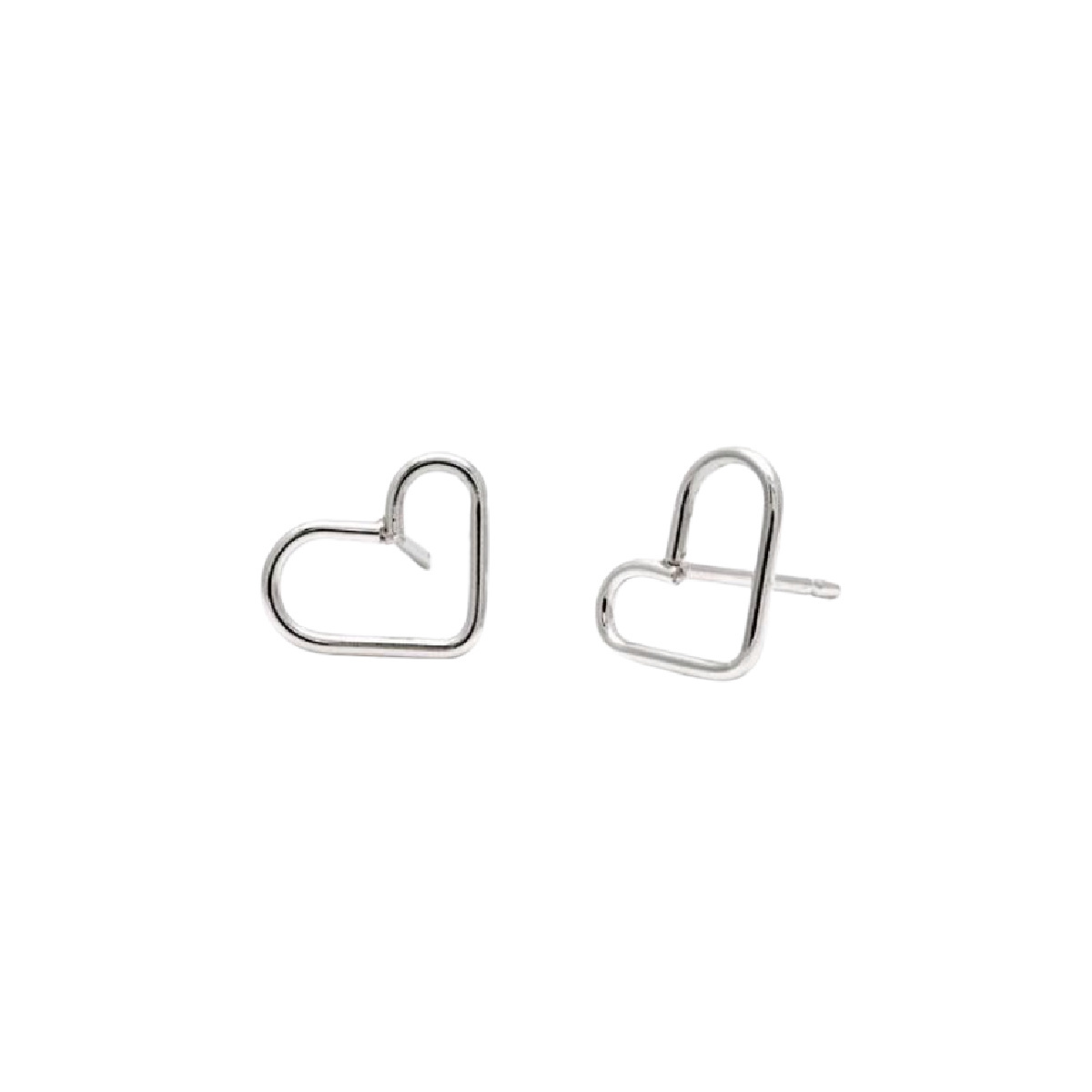 Laughing Sparrow Tiny Silver Heart Studs