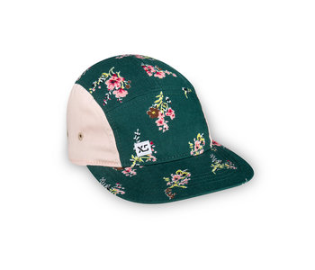 XS Unified Kid's 5 Panel Hat Green Floral