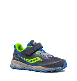 Saucony Kids Peregrine Trail Velcro Runner Blue / Green