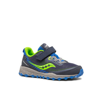 Saucony Kids Peregrine Trail Velcro Runner Blue / Green