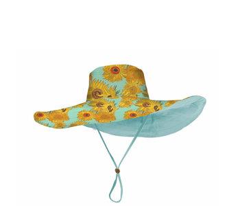 Rain Caper Reversible 50+ UPF Sun Hat Sunflower/Aqua
