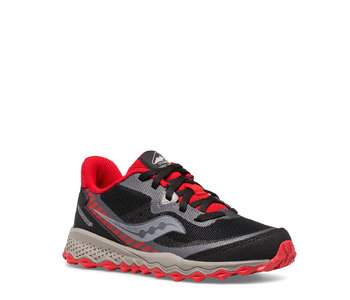 Saucony Youth Peregrine Trail Runner Blk / Red