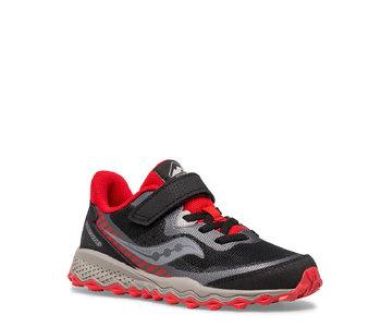 Saucony Kids Peregrine Trail Velcro Runner Black / Red