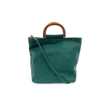 Joy Susan Lily Woven Wood Handle Tote Turquoise