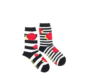 Friday Sock Co. Women's  Stripe & Rose Crew W 5 - 10 (M - 4 - 8)