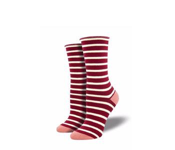 Socksmith Women's Sailor Stripes Red W 5-10.5