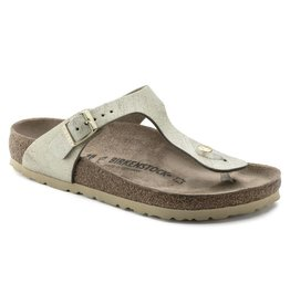 Birkenstock 1008791 Women's Gizeh Washed Metallic Cream Gold Leather
