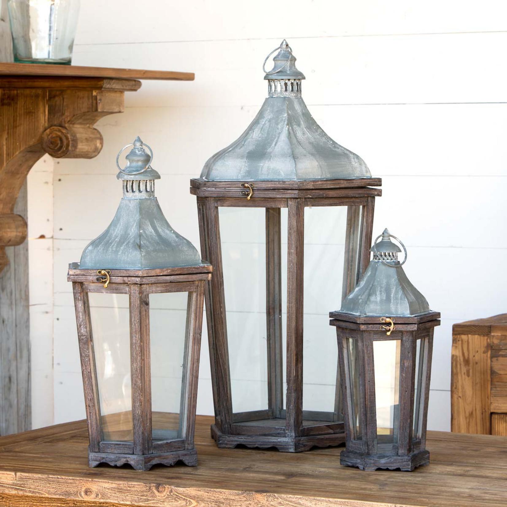 Wood & Galvanized Metal Lantern