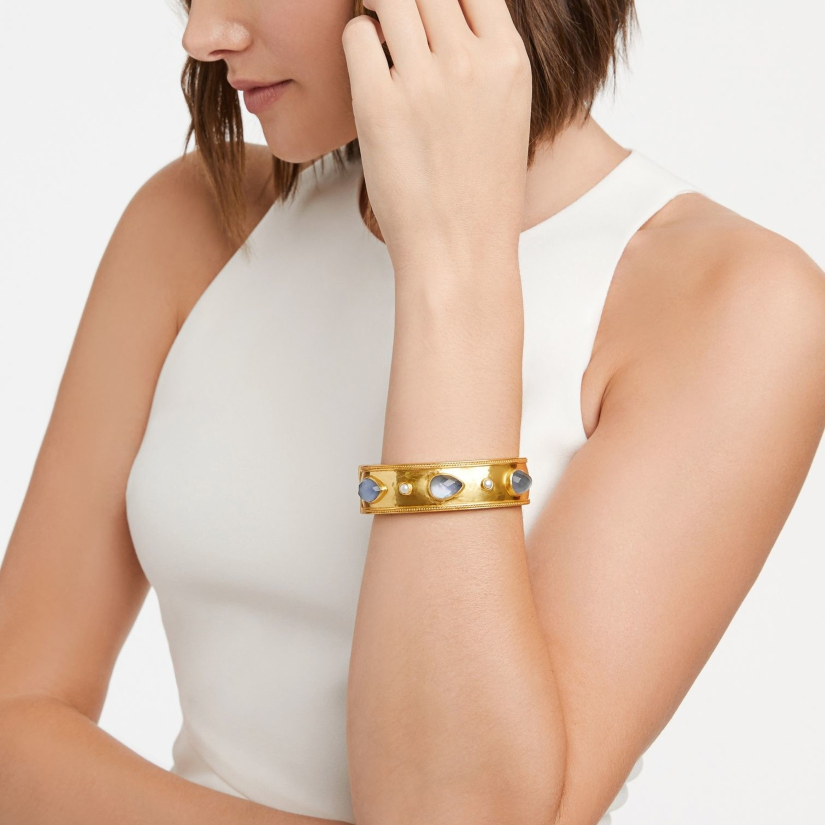 Cassis Statement Hinge Bangle Gold Iridescent Slate Blue with Pearl Accents