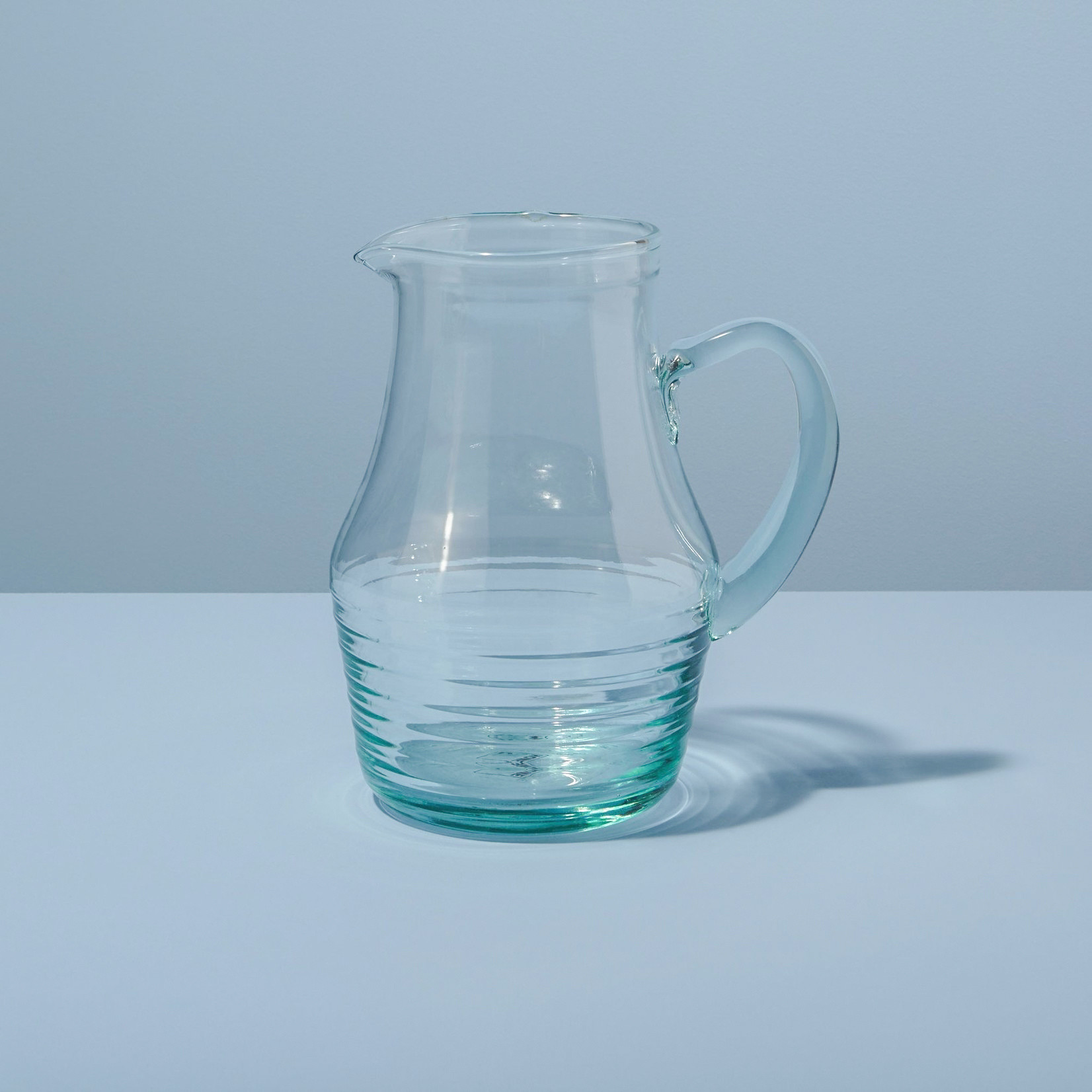 Rippled Recycled Glass Pitcher