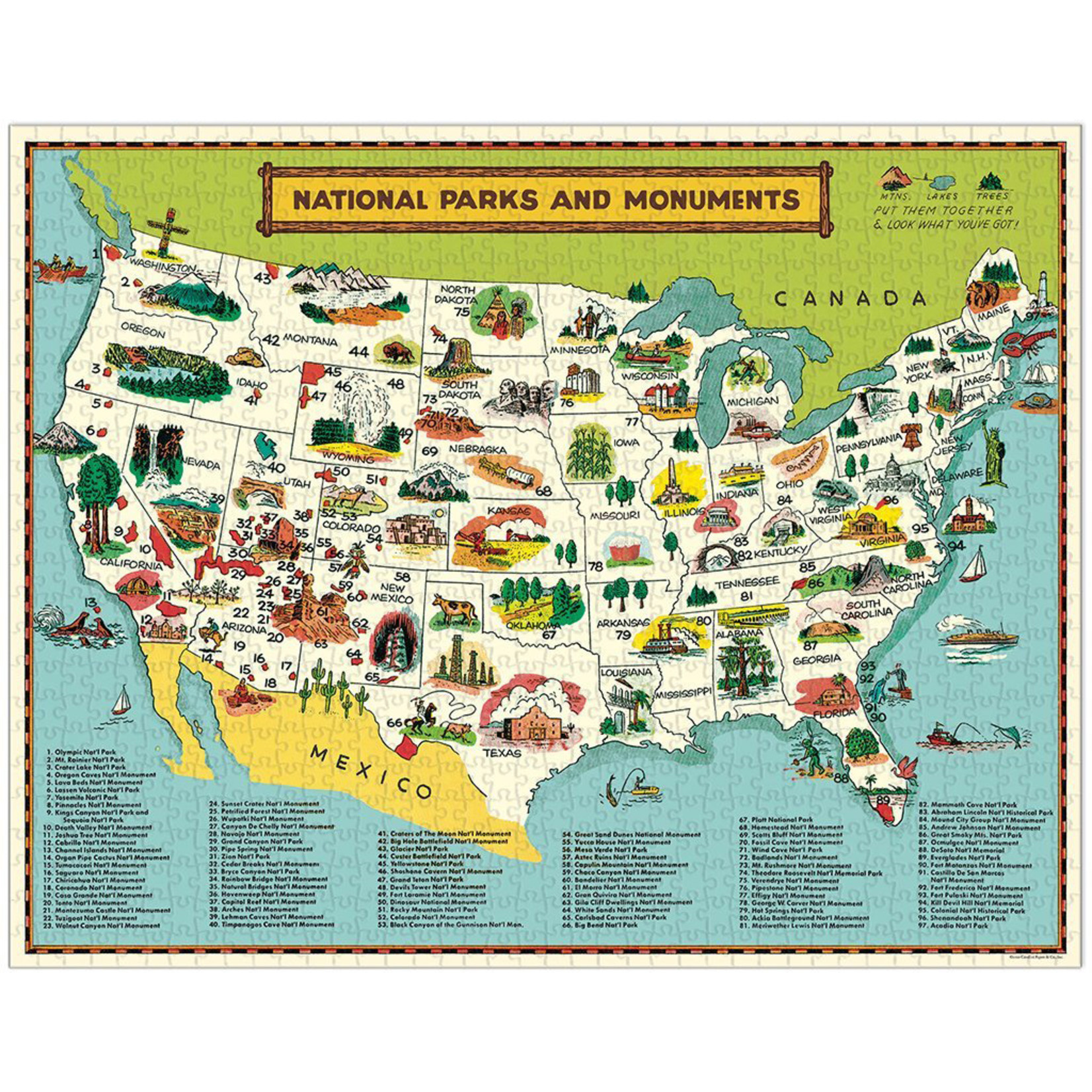 Cavallini & Co. 1000 Pc. Puzzle — US National Parks Map