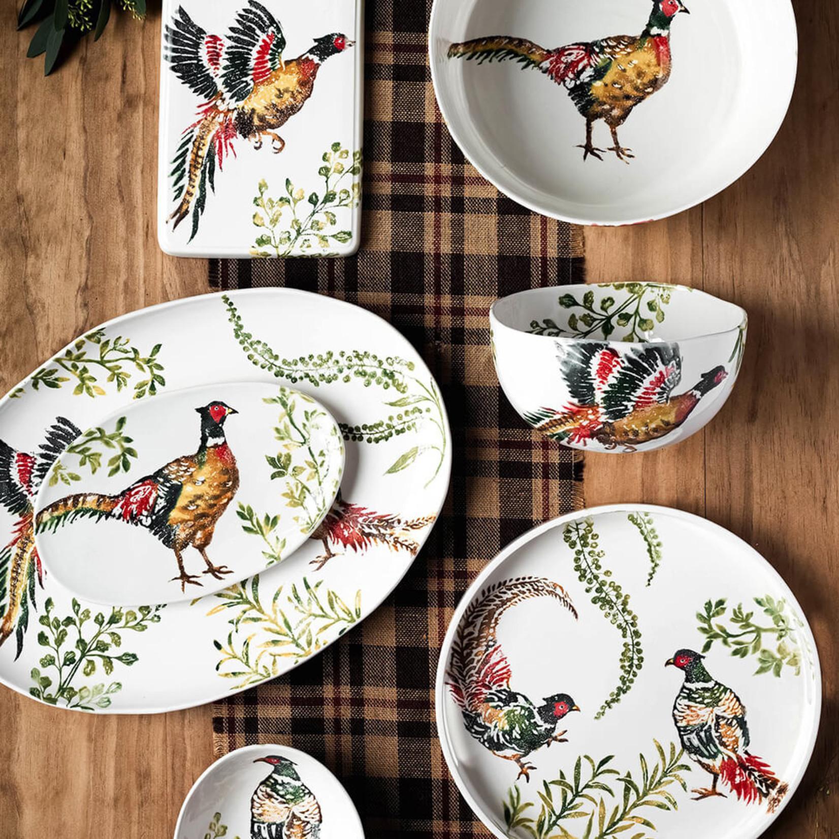 Vietri Fauna Pheasants Small Oval Platter