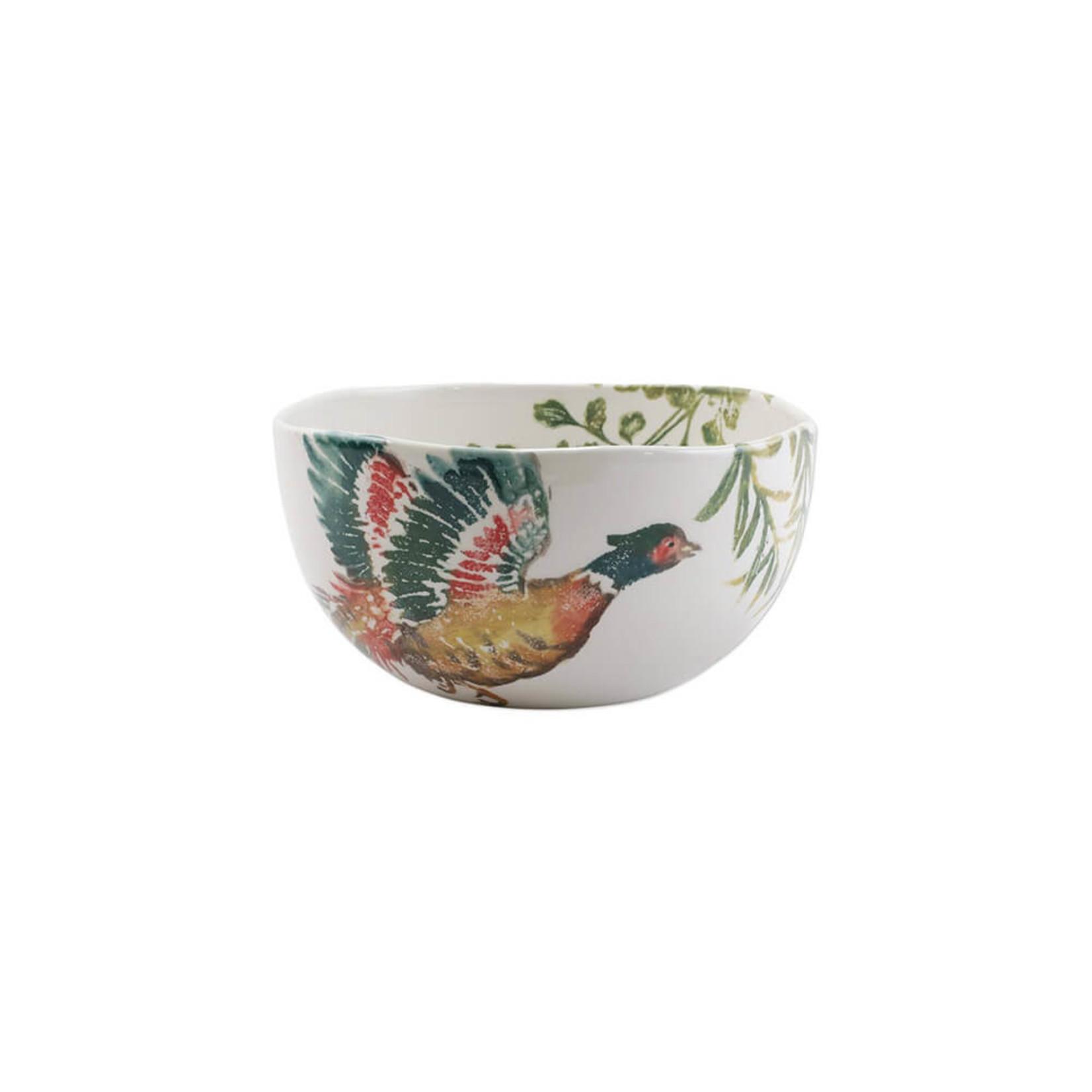 Vietri Fauna Pheasants Deep Serving Bowl