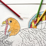 Die Cut Coloring Turkey Placemat - 12 Sheets