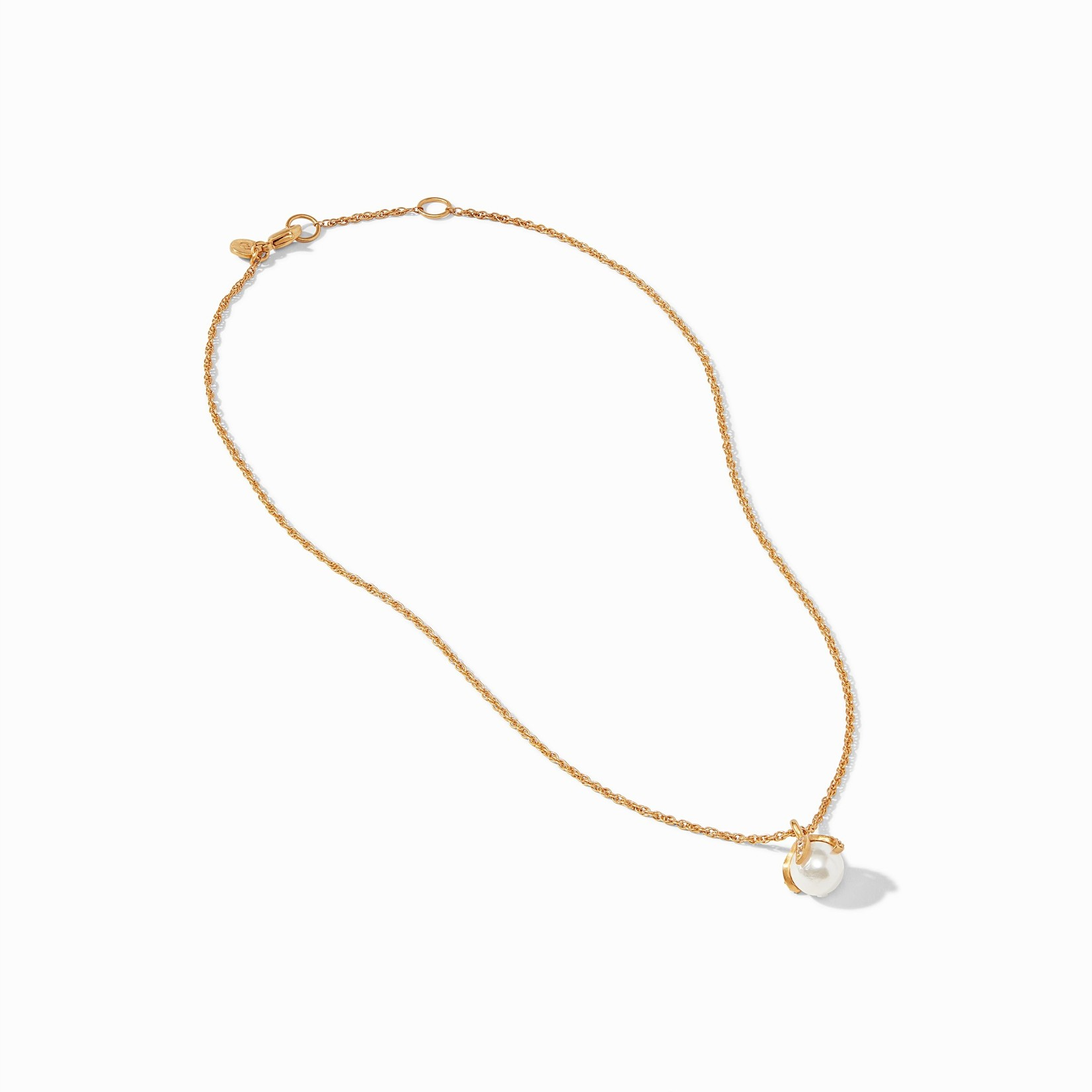 Julie Vos Juliet Delicate Necklace Gold Pearl with CZ