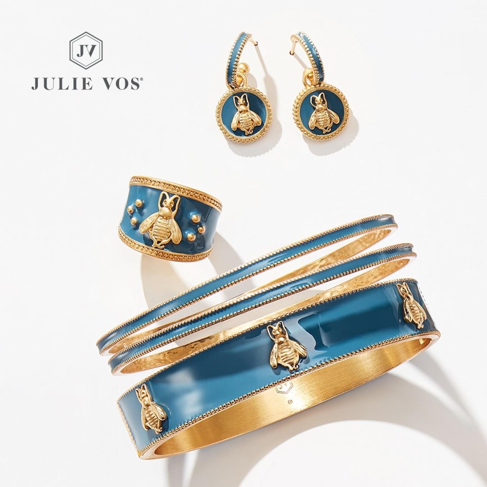 Julie Vos Bee Hinge Bangle Gold Denim Blue Enamel