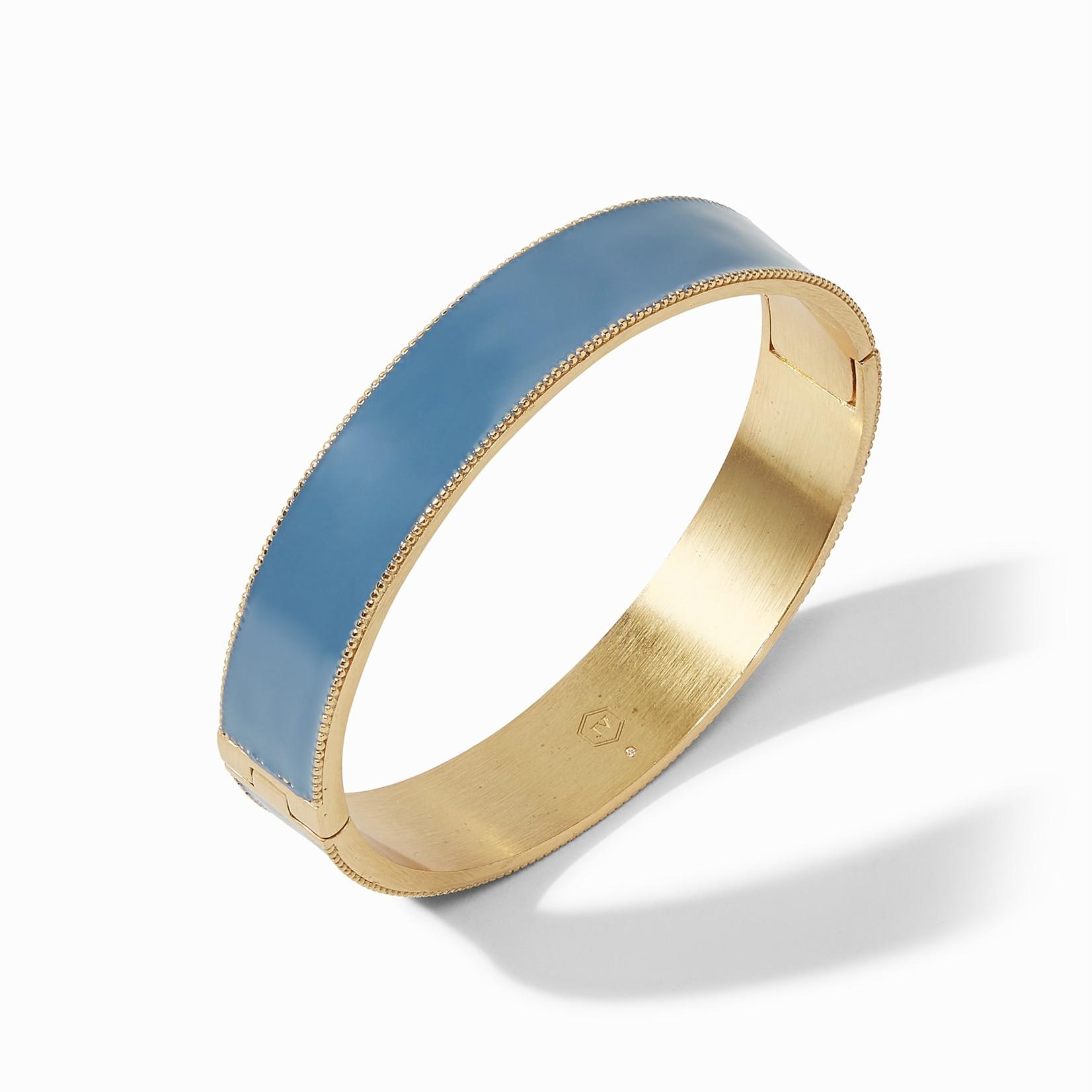 Julie Vos Marseille Hinge Bangle Gold Denim Blue Enamel