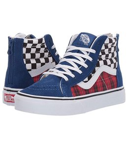 Vans TODDLER SK8-HI ZIP PLAID CHECKERBOARD (TRUE BLUE/ RACING RED)