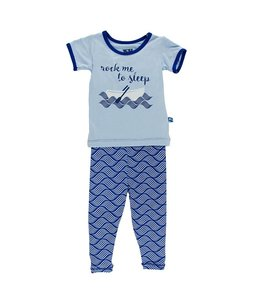 KICKEE PANTS PRINT SHORT SLEEVE -  PAJAMA SET - KITE WATER LATTICE