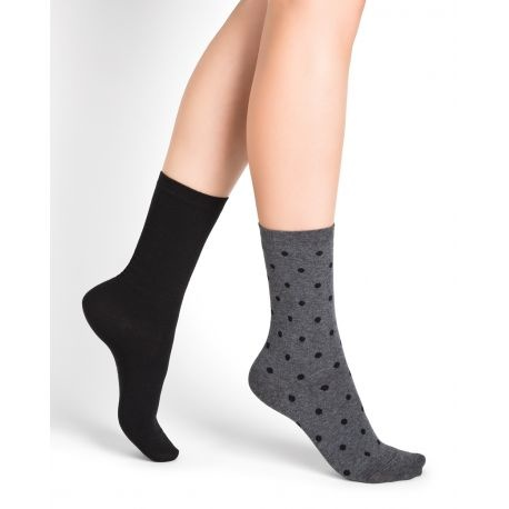 Bleu Foret Bleu Fôret Duo Polka Dots Cotton Socks (2 Pack)