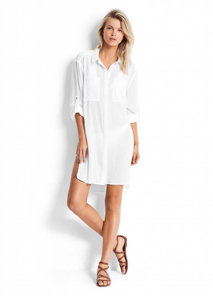 Seafolly Seafolly Crinkle Twill Beach shirt