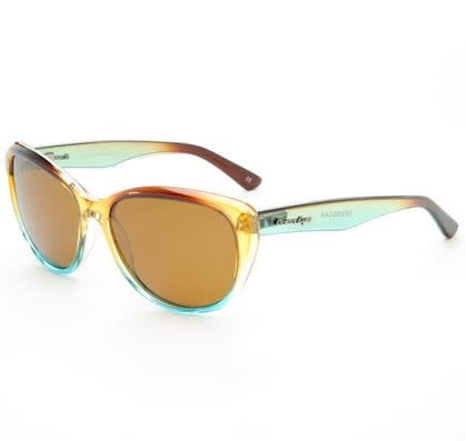 Ocean Eyes Ocean Eyes Kauai Shiny Crystal Brown/Blue Amber Sunglasses
