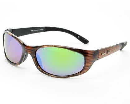 Ocean Eyes Ocean Eyes Key West Green Mirror Shiny Woodgrain Amber Sunglasses