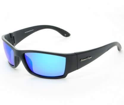 Ocean Eyes Ocean Eyes Fish On Matte Black, Blue Mirror Smoke Sunglasses
