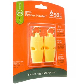 SOL SOL Rescue Howler Whistle, 2-Pack