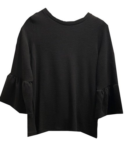 FRENCH CONNECTION LONG SLEEVE FRILLED SWEATER
