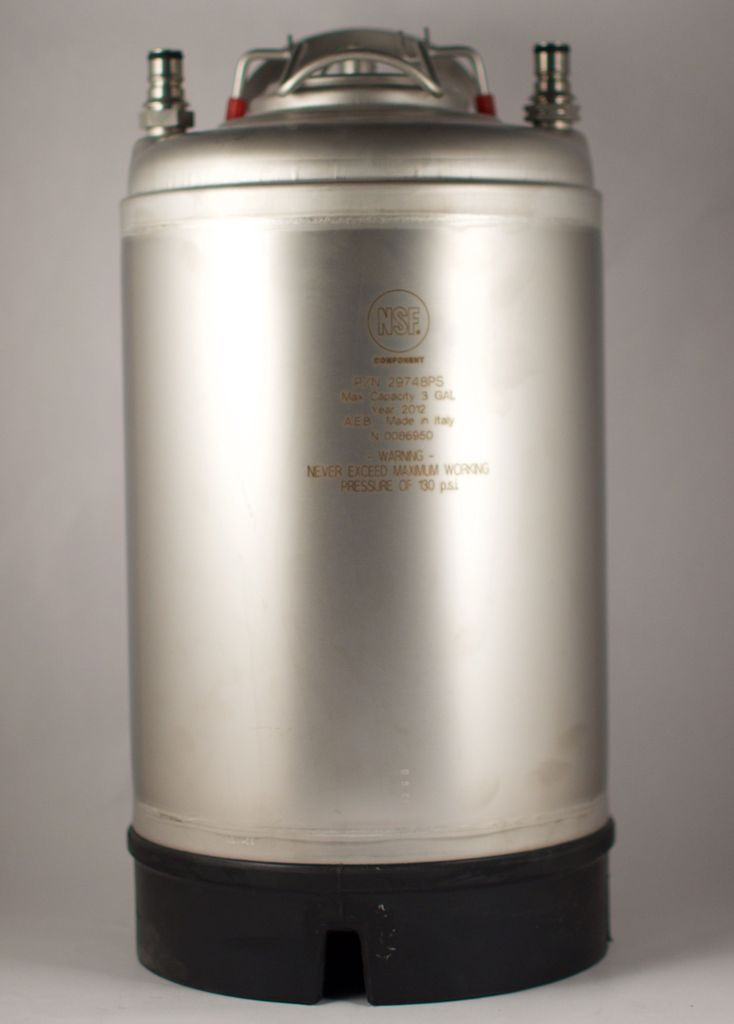 All Safe New 3 Gallon Ball Lock Corny Keg  - Steel Handle