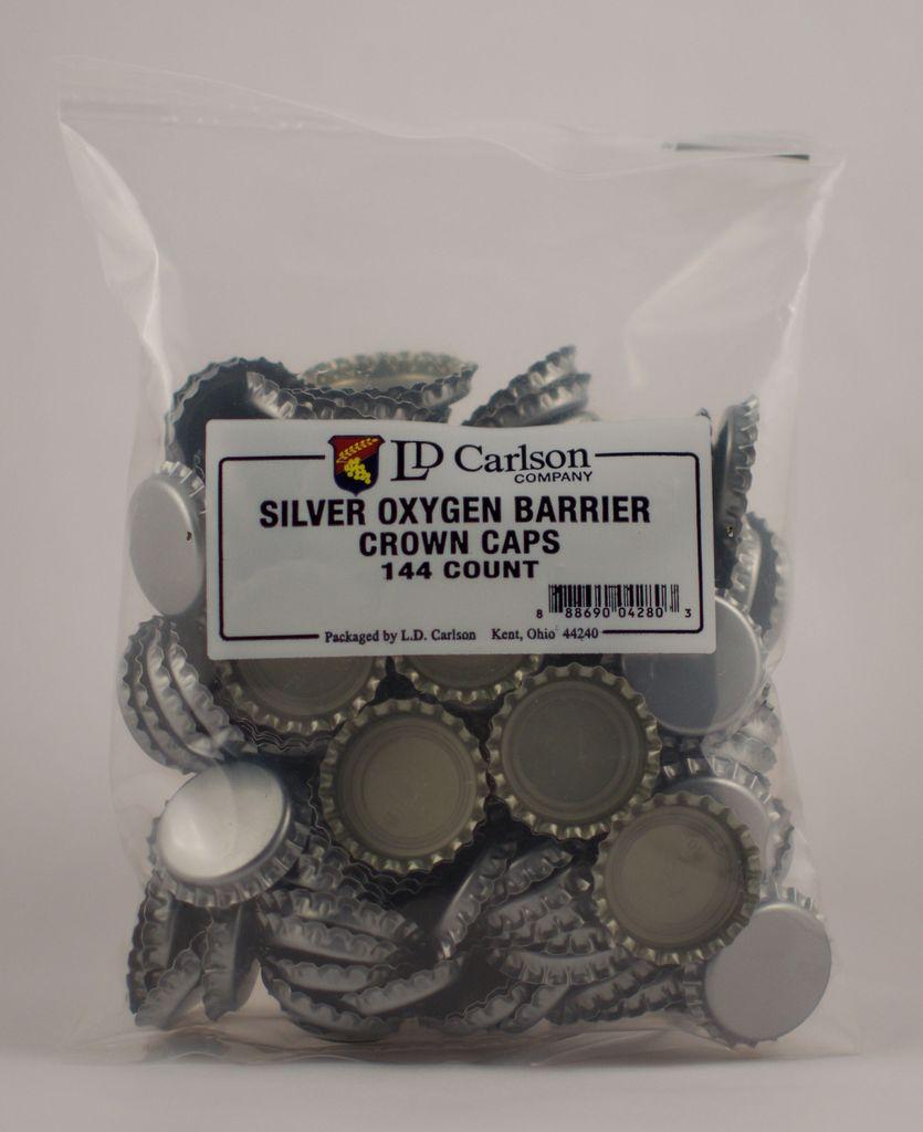 LDC Silver Oxygen Barrier Crown Caps (144/bag)