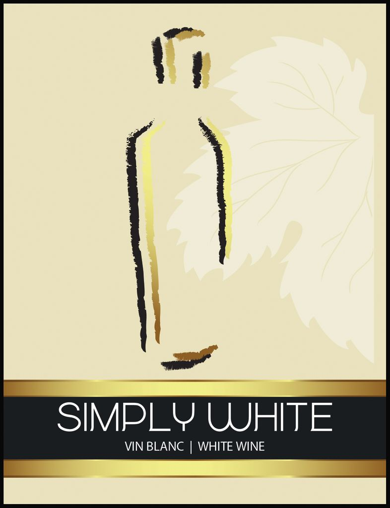 LDC Simply White Wine Labels 30/pack