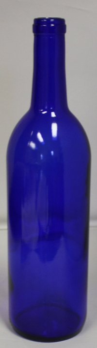LDC 750 mL Bordeaux Cobalt Blue Bottles Cork Finish (12/case)
