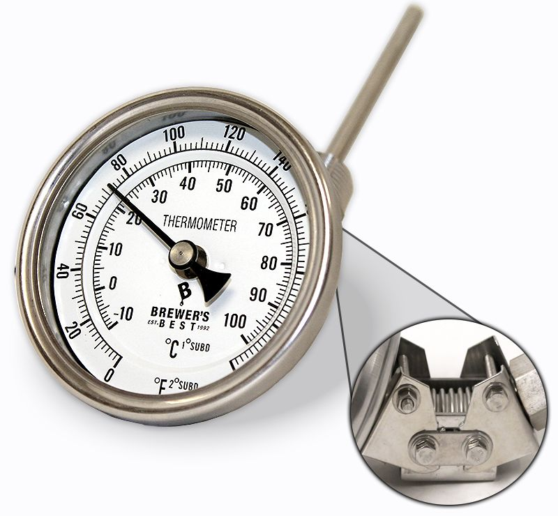 """Brewers Best Brewer's Best Adjustable Kettle Thermometer 3"""" Dial and 4"""" Probe"""