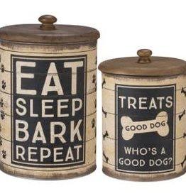 """Treat Jar """"Eat Sleep Bark"""" Set of 2"""
