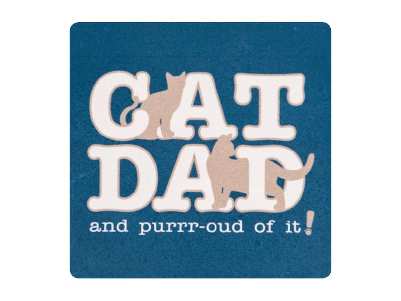 ABSORBENT STONE COASTER - CAT DAD