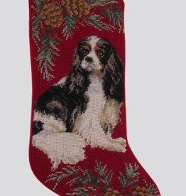 Christmas Stocking King Charles Cavalier Tri color