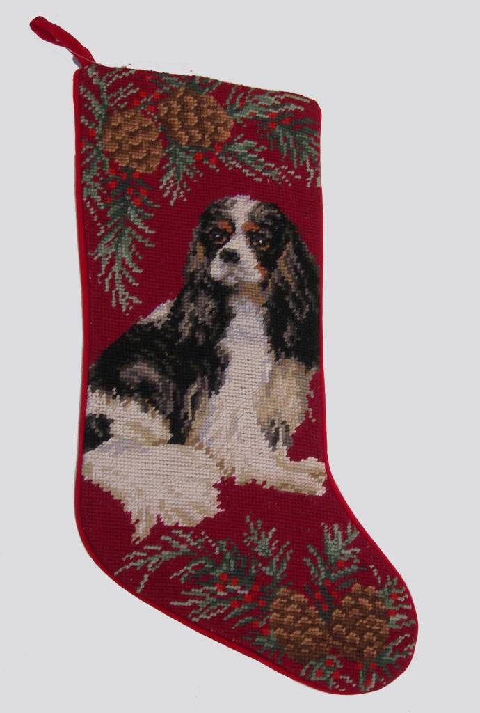 Christmas Stocking King Charles Cavalier Tri color